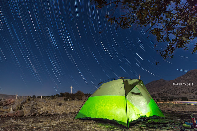 Star Trails and illuminated Tent