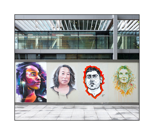 Street Art (Mr.Cenz, Brook Tate, Isabella Timothy, Carne Griffiths), East London, England.