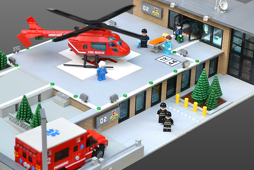 Lego Heliport Fire Station MOC