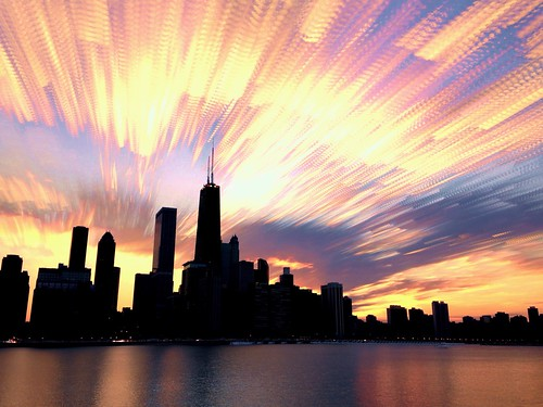 sunset chicago skyline timelapse blended stacked johnhancockbuilding chicagoskyline cloudtrails ilapse timestack