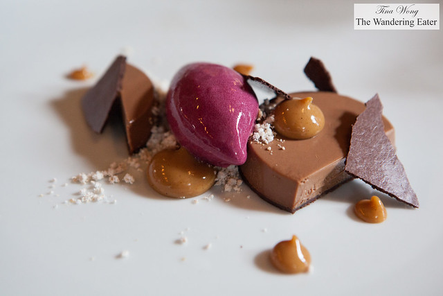 Dark chocolate and coffee tart, Concord grape sorbet, peanuts, banana caramel