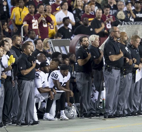 Oakland Raiders National Anthem Kneeling | by KA Sports Photos