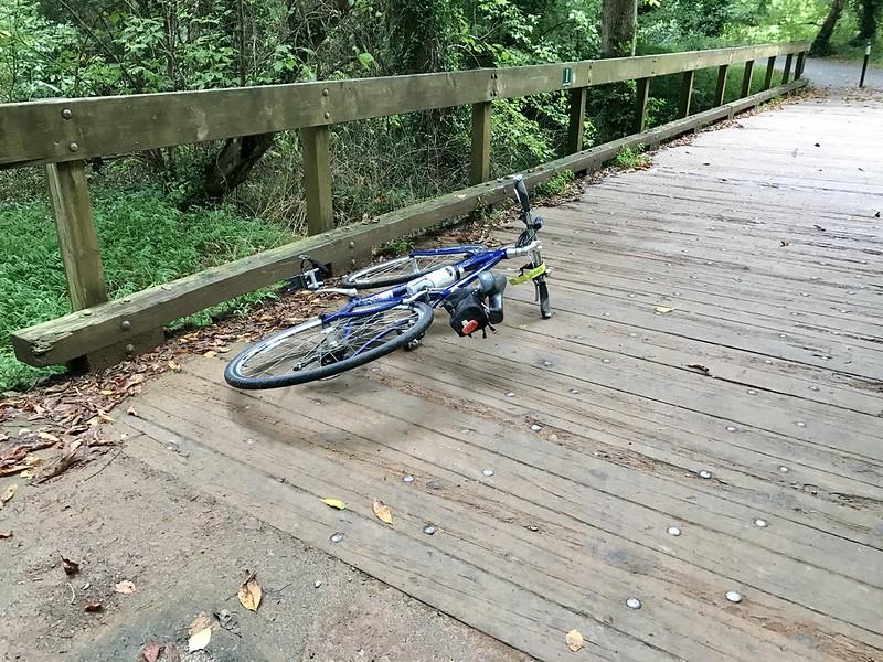 90 degree turn + slippery boardwalk = crash