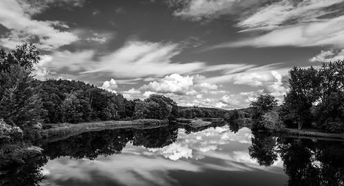 ammonoosucriver bathhaverhillcoveredbridge landscape reflection sky clouds cloudporn skyporn nature waterscape water river blackandwhite monochrome bw nikon d610 2018g woodsville newhampshire nh unitedstatesofamerica usa bathhaverhill fav10 fav25 fav50