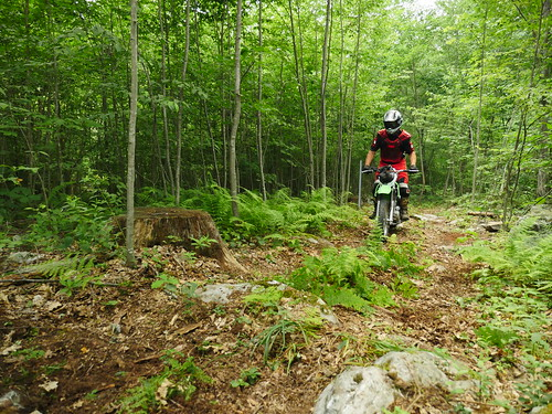 Photo of dirt bike riding on a wooded trail