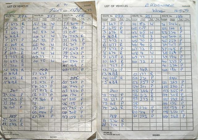 London Transport Edgware garage SMS-DMS-BL service runout 15.05.1979 + 16.05.1979 comparison