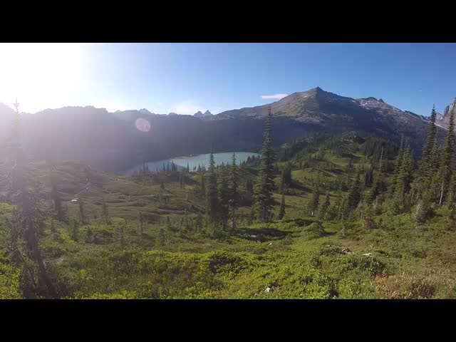 4518 GoPro video panorama from a ridge near our campsite looking at the Lyman Lakes, our pond, and Spider Gap