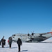 Scientists say good-bye as they load an LC-130 Hercules aircraft at East Greenland Ice Core Project (GRIP) underground station, July 29, 2017. The 109th Airlift Wing uses its ski-equipped aircraft to transport scientists and supplies to and from remote locations such as the East GRIP station. (U.S. Air Force photo by Tech. Sgt. Greg C. Biondo/Released)