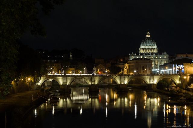 Romantic walk along the Tiber river in the Umberto I bridge - Rome - Italy