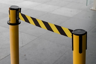 Black and Yellow Lines of barrier tape | by wuestenigel