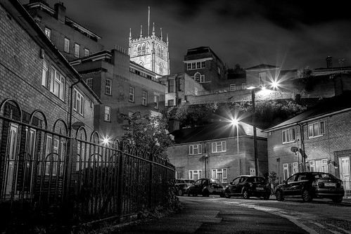 nottingham night street longexposure houses church stmarys cityscape lacemarket road pavement fence lamplight hill