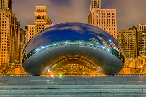 attplaza chicago cloudgate hdr illinois nikon nikond5300 thebean architecture bluehour buildings city clouds geotagged lights longexposure morning park reflection reflections sculpture sky skyscrapers windows unitedstates millenniumpark
