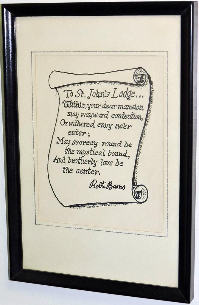 Poem From Robbie Burns Freemason Masonic Temple Carleton