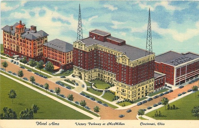 Hotel Alms wit WLW Radio Staion on Top - 1937