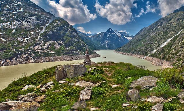 Grimselsee lake Panorama 2009, Canton of Bern Switzerland. Izakigur 173+175.