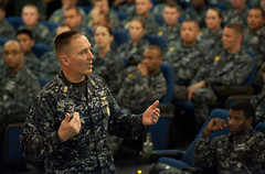 Master Chief Petty Officer of the Navy (MCPON) Mike Stevens speak with Sailors during an all hands call at Joint Base Pearl Harbor-Hickam. (U.S. Navy/MC1 Martin L. Carey)