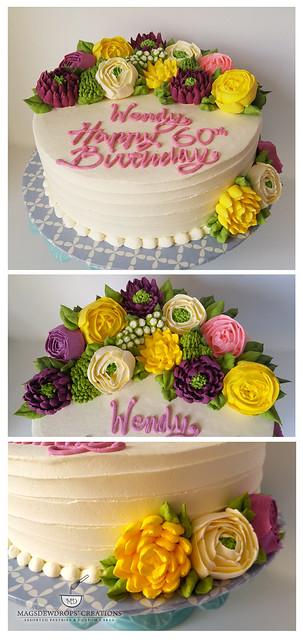 All Buttercream Floral Arrangement Cake