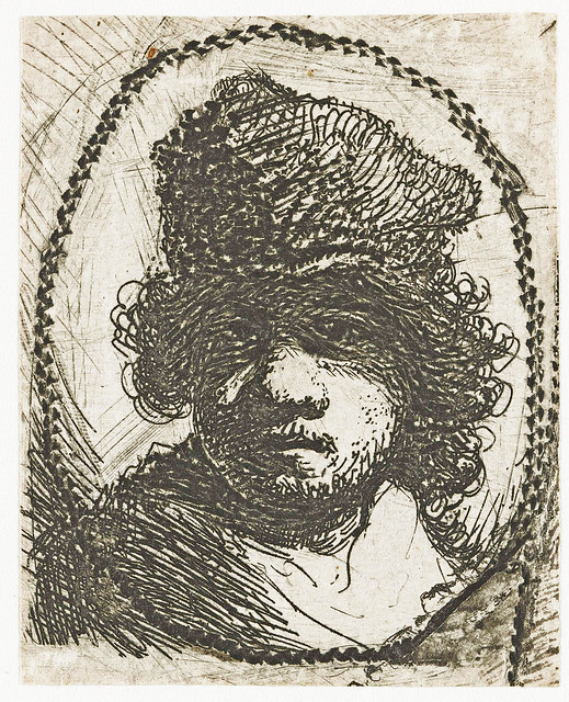 Rembrandt - Self-portrait with high hat, in an oval border [1629]