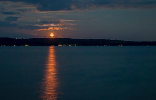 moon full rise shine stream torch torchlake michigan long exposure night dark clouds landscape horizon sea seascape nature serene serenity canon eos t3i dslr digital tamron