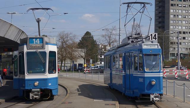 Tram Museum Zürich -  Ce 4/4 1392 bei der Endhaltestelle Triemli.