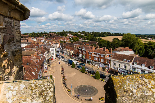 over battle abbey gatehouse tower battlement castellation town square 1066 hastings architecture building landscape areaofoutstandingnaturalbeauty aonb high weald trees outdoor sussex england commanding view vista merlon embrasure crenallated