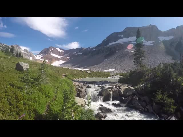 4444 GoPro video of the waterfall above Lyman Lake from the top of the falls