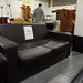 2 seater black brown  leatherette sofa E130