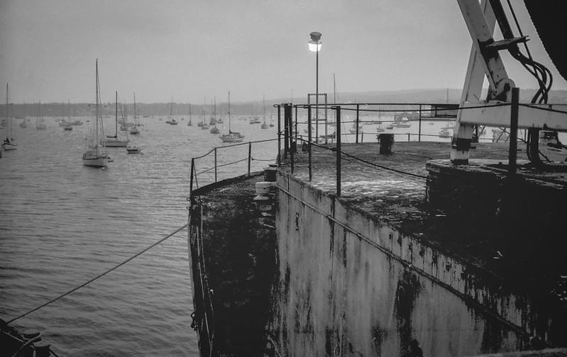 dusk, old commercial ship, Dragon Cement plant, harbor, Rockland, Maine, FED 4, Arista.Edu 200, Ilfosol 3 developer, 8.26.17