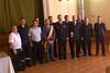Bürgermeister Christian David mit Ehrengästen bei der Festveranstaltung im Kulturheim