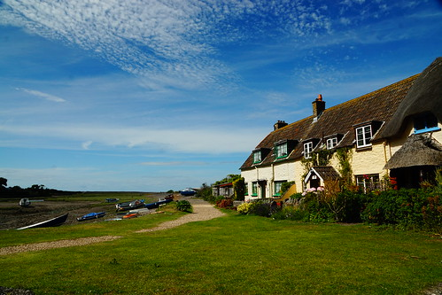 porlock somerset england uk sony a6000 color weir outdoors coast cottages boats sky clouds blue green grass building homes houses landscape britain