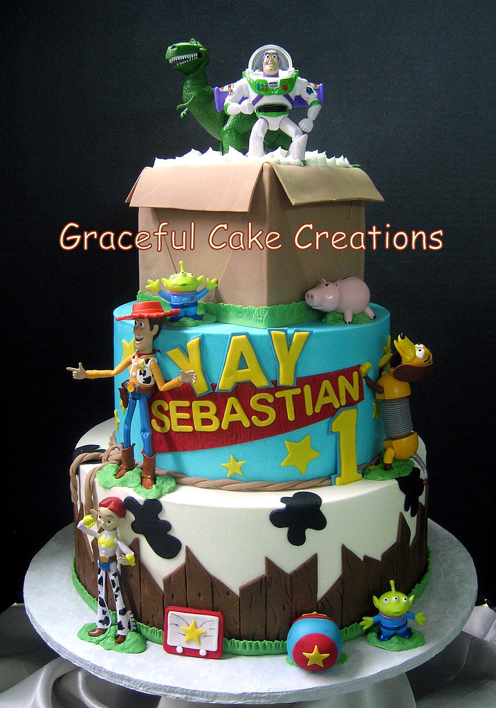 Surprising Toy Story Birthday Cake With Woody Buzz And Jessie Flickr Funny Birthday Cards Online Overcheapnameinfo
