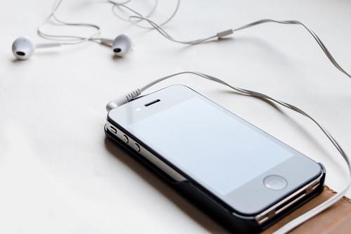 Smartphone connected to earphones