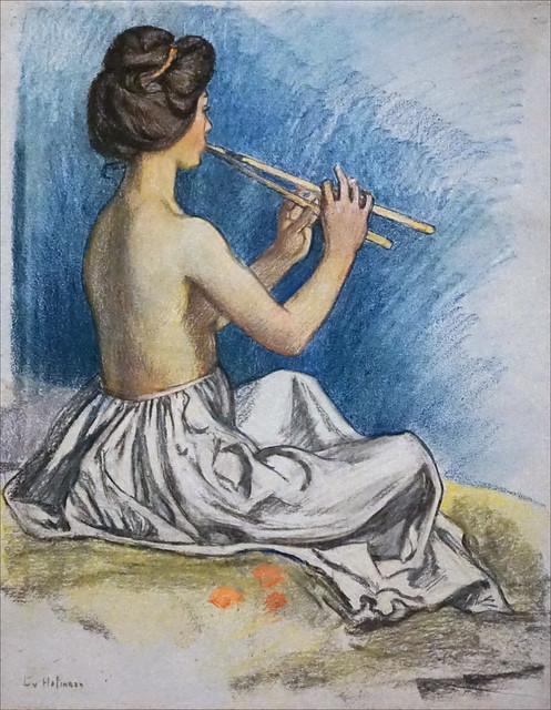 Joueuse de flûte de Ludwig von Hofmann (Kupferstichkabinett, Berlin)