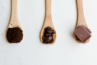 Top View of Wooden Spoons with chocolate and coffee beans | by wuestenigel