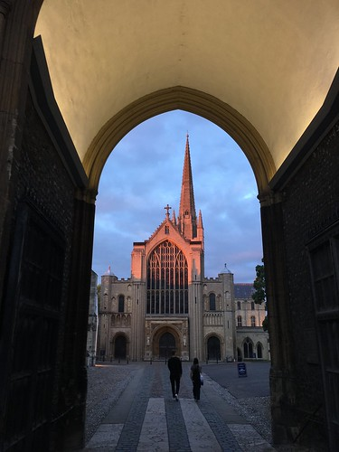 norwich norfolk england britain eastanglia aug2017 historic architecture cathedral sunset