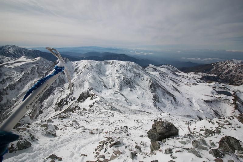 冬の立山から下山