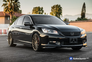 "Black 2015 Honda Accord Sedan on 20"" Niche Wheels Form M158 Bronze 