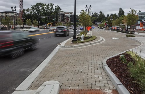 "Looking north along Bothell Way Northeast's ""multiway"" boulevard in downtown Bothell."