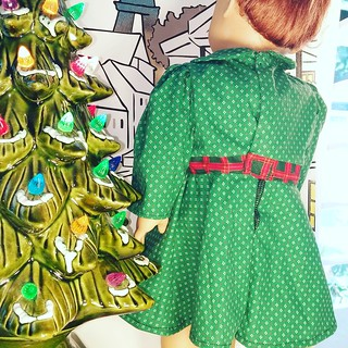 18 Inch Doll Christmas Dress with Plaid Belt | by Stitchcottage