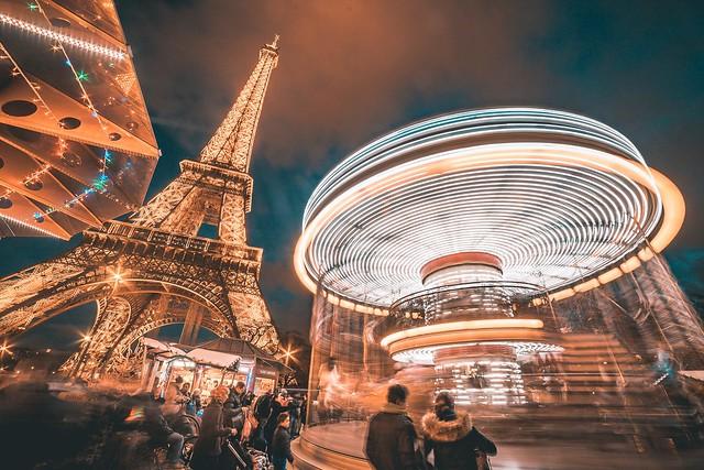 Paris in Teal&Orange 👌👌👌 Paris Paris, France  Night Illuminated Tourdeeiffel Eiffel Tower Architecture Long Exposure Unrecognizable People Arts Culture And Entertainment Travel Destinations Leisure Activity Built Structure Tourism