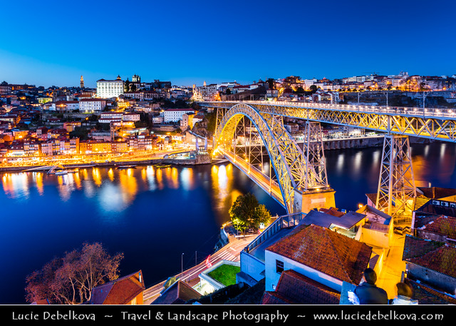 Portugal - North Region - Porto & Dom Luís I (Luiz I) Bridge at Dusk - Twilight