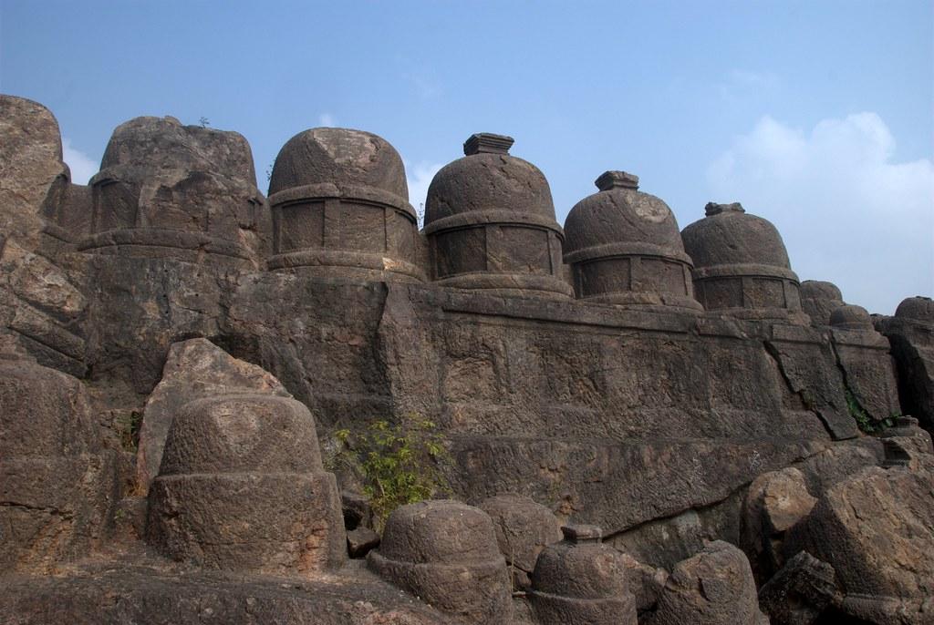Image result for Rock cut stone Stupas at Lingalakonda Buddhist Ruins