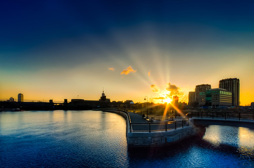 briburt cambridge massachusetts d90 sunset dusk sun northpointpark blue water rays sunrays boston newengland peaceful zen 1020 sigma1020 wide wideangle gold golden goldenhour darkblue yellow crepuscular glow glowing bridge curve lines museumofscience clouds dramatic lowlight longexposure bluehour blauestunde