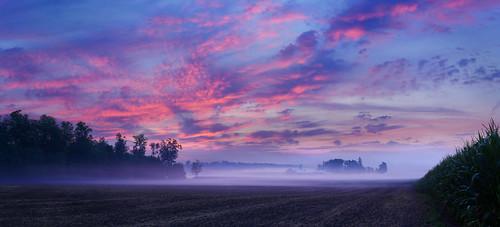 panorama dawn sunrise clouds fog fields farm woolwichtownship waterlooregion ontaio canada