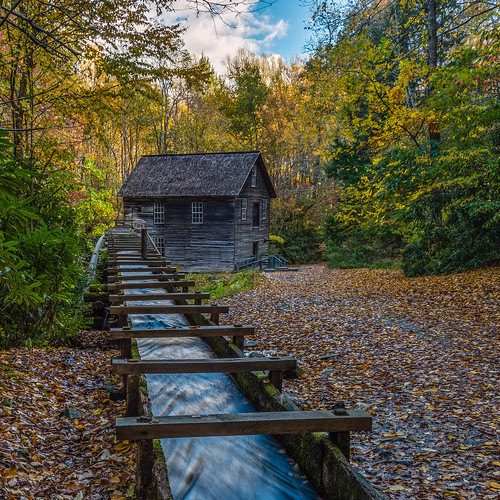 mingusmill gristmill gsmnp greatsmokymountains historic appalachia agricultural millrace millrun autumn fall leaves foliage trees nc northcarolina