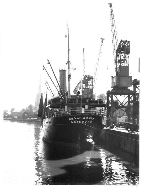 SS 'Adolf Bratt' at Wapping Wharf. Late 1950's.