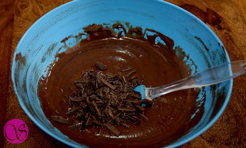 Chopped chocolate with batter