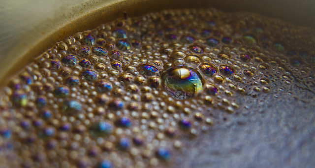 Iridescence in coffee bubbles (french press)