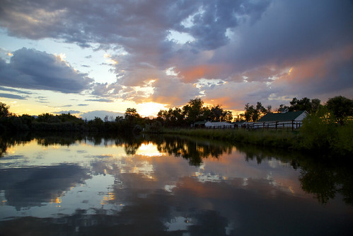 metzgerfarmsopenspace westminster co colorado sunset reflection water pond silhouette trees serenity tranquil stillwater clouds sky farmhouse house dusk