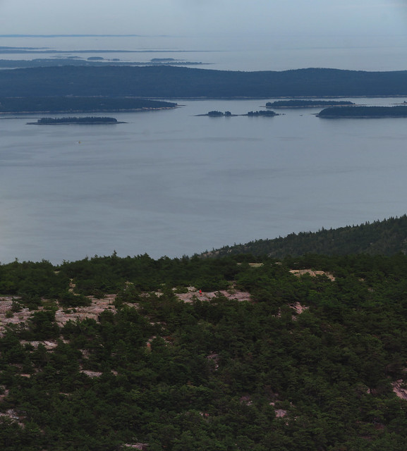 Lone hiker at Acadia National Park, on mountain across from cadillac mountain; Maine (2017)